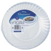 Classicware Plastic Plates, 23cm Diameter, Clear, 12 Plates/Pack