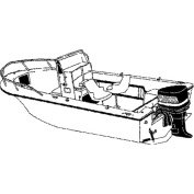 Carver Styled-to-Fit Cover for V-Hull Centre Console Fishing Boat with High Bow Rails, Haze Grey