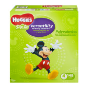 HUGGIES Little Movers Slip-On Nappy Pants, Size 4, 148 Nappies
