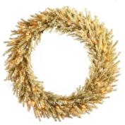80cm Pre-Lit Sparkling Champagne Artificial Christmas Wreath - Clear Lights
