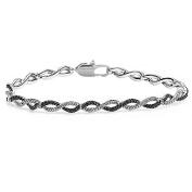 0.10 Carat (ctw) Sterling Silver Black & White Diamond Tennis Bracelet