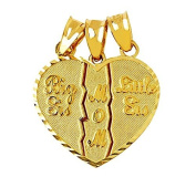 Textured 10k Gold 3-Piece Diamond-Cut Mom and Daughters Breakable Heart Bracelet Charm
