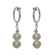 FRESCA DUO CERCEAU Silver Plated 8mm Freshwater Pearl Clip On Earrings