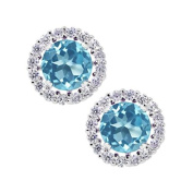 2.00 Ct Round 6mm Swiss Blue Topaz 925 Silver Removable Jacket Stud Earrings