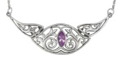 Elegant Victorian Sterling Silver Folding Collar Necklace with Amethyst Gemstone Jewellery