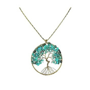 Turquoise Stone Eternal Tree of Life Brass Long Necklace