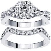 1.30 CT TW Braided Princess Cut Diamond Engagement Wedding Band Set in 14k White Gold