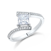 Princess Ladies Engagement Ring Micro Pave sides 925 Sterling Silver Signity Diamonds