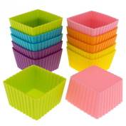 Freshware CB-301SC 12-Pack Silicone Mini Square Reusable Cupcake and Muffin Baking Cup, Six Vibrant Colours