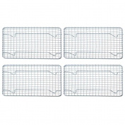 (Set of 4) Half-Size, Heavy Duty Wire Pan Grate - 20cm x 25cm - Cooling Rack - Chrome Plated