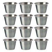 (Set of 12) Stainless Steel, Individual Condiment Sauce Cup - 60ml