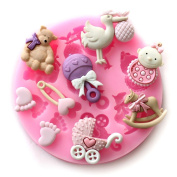 Longzang Mini Silicone Sugar, Fondant and Cake Mould, Baby Shower Theme, Pink
