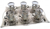 Turkish Tea Set for 6 - Glasses with Brass Holders Lids Saucers Tray & Glass Spoons,25 Pcs