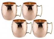 Old Dutch Solid Hammered Moscow Mule Mug, 470ml, Copper, Set of 4