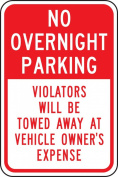"Accuform Signs FRP178RA Engineer Grade Reflective Aluminium Parking Restriction Sign, Legend ""NO OVERNIGHT PARKING VIOLATORS WILL BE TOWED AWAY AT VEHICLE OWNER'S EXPENSE"", 30cm Width x 46cm Length x 0.2cm Thickness, Red on White"