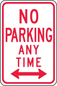 "Accuform Signs FRP716RA Engineer Grade Reflective Aluminium Parking Restriction Sign, Legend ""NO PARKING ANY TIME"" with Double Arrow, 30cm Width x 46cm Length x 0.2cm Thickness, Red on White"
