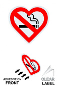 ComplianceSigns Clear Vinyl No Smoking Window Cling, 10 x 10 with Symbol, Front Adhesive