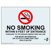 ComplianceSigns Clear Vinyl Indiana No Smoking X Feet Label, 18cm x 13cm . with Front Adhesive, English