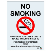 ComplianceSigns Clear Vinyl Wisconsin No Smoking Label, 25cm x 18cm . with English