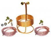 HomeBrewStuff 7.6m Copper Immersion Wort Chiller - Deluxe Package with 0.6m x 3.7m Hoses, Fittings, & Faucet Adapter