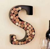 "Monogram Letter ""P"" Wall Wine Cork Holder in Black Metal"
