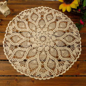 kilofly Handmade Crochet Cotton Lace Table Sofa Doily, Waterlily, Beige, 50cm