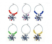 Puzzled Metal Octopus Wine Charms