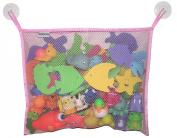 Toyganizer Bath Toy Organiser + 2 Bonus Strong Hooked Suction Cups, Pink