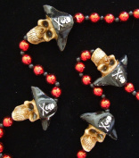 Pirate Skull with Tri Hat Mardi Gras Bead Necklace Spring Break Cajun Carnival Festival New Orleans Beads