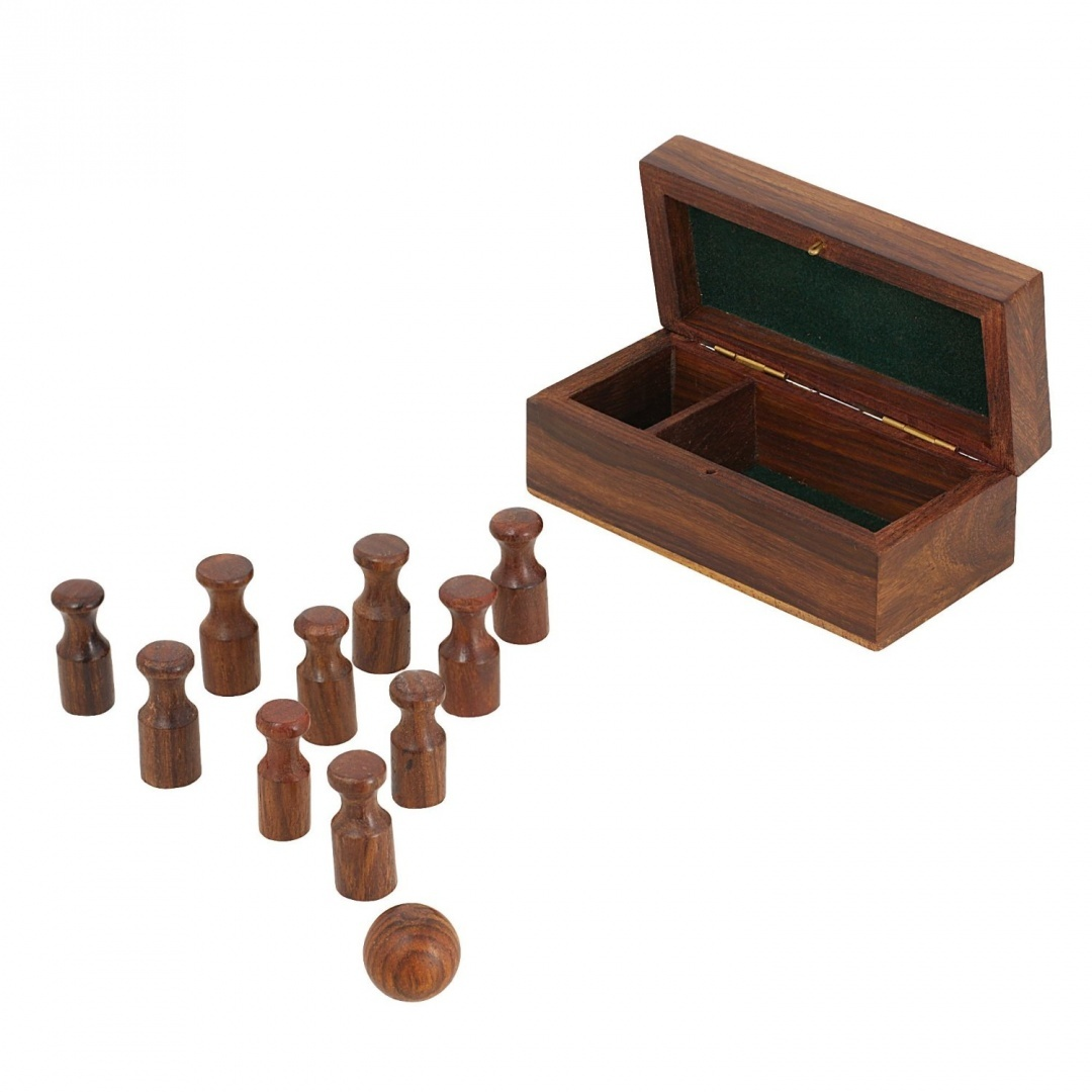 Indian Wooden Mini Bowling Set - Table Games for Adults - Family Travel  Games