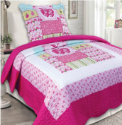 Mk Collection 2 Pc Bedspread Teens/girls Hot Pink Light Pink Flowers Apple New