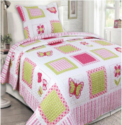 Mk Collection 2 Pc Bedspread Teens/girls Pink Yellow Butterfly Floral New