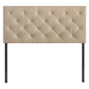 Modway Theodore Tufted Faux Leather Queen Size Headboard in Beige