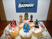 Batman Superhero and Villains Set of 12 Cake Toppers Cupcake Toppers Party Decorations