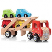 Wooden Car Transporter Retro Lorry and Car Set With Trailer and Ramp Fun Christmas Toys by Lizzy®