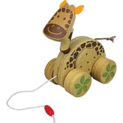 Nicko Pull-Along Giraffe Jingle Roller Bamboo Wooden Baby Toy
