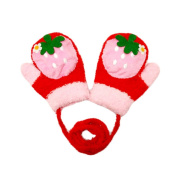 Durable Lovely Strawberry Warm Gloves Useful Winter Baby Mittens 3-24 Months