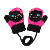 Durable Lovely Cat Warm Gloves Useful Winter Baby Mittens 3-24 Months