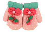 Durable Lovely Warm Gloves Useful Woollen Winter Baby Mittens 13*7CM Pink