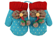 Durable Lovely Pattern Warm Gloves Useful Woollen Winter Baby Mittens 13*7CM Blue