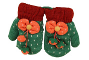 Durable Lovely Warm Gloves Useful Woollen Winter Baby Mittens 13*7CM Green