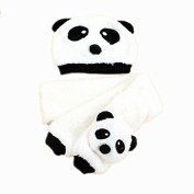 BuyHere Unisex-Baby Panda Cap with Scarf Set,White