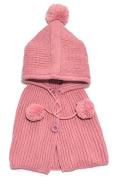 BuyHere Unisex-Baby Button Wool Shawls and Knitting Hat Set,Pink