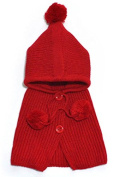 BuyHere Unisex-Baby Button Wool Shawls and Knitting Hat Set,Red