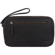 Greenland Westcoast Men's Wrist Bag Men's Bag Leather 25 cm braun