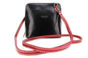 Vera Pelle Genuine Italian Real Leather Crossbody Messenger Bag Shoulder Handbag Black & Red