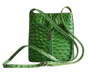 Genuine Italian Leather, Small Ostrich or Smooth Effect Small Cross Body or Shoulder Bag Handbag. Includes a Protective Dust Bag.