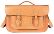 36cm Autumn Tan English Magnetic Snap Briefcase Leather Satchel - Classic Retro Fashion Bag