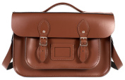36cm Chestnut Brown English Magnetic Snap Briefcase Leather Satchel - Classic Retro Fashion Bag