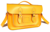 36cm Double Yellow English Magnetic Snap Briefcase Leather Satchel - Classic Retro Fashion Bag